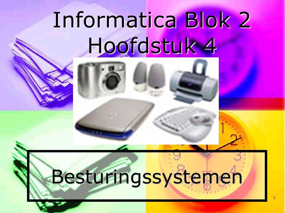 1 Besturingssystemen Informatica Blok 2 Hoofdstuk 4