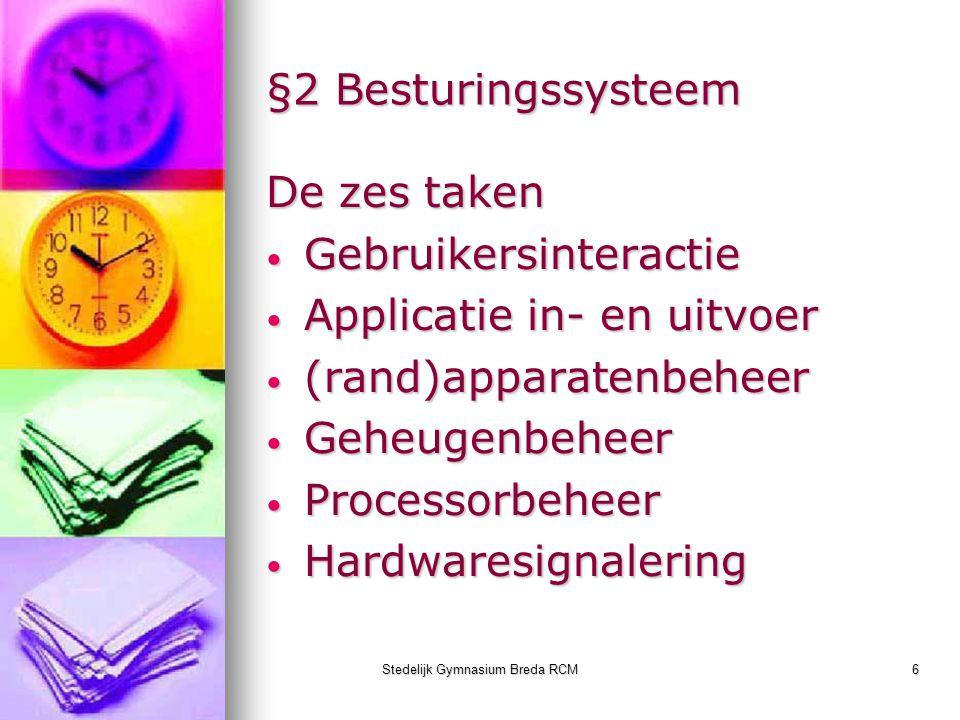 Stedelijk Gymnasium Breda RCM6 §2 Besturingssysteem De zes taken Gebruikersinteractie Gebruikersinteractie Applicatie in- en uitvoer Applicatie in- en