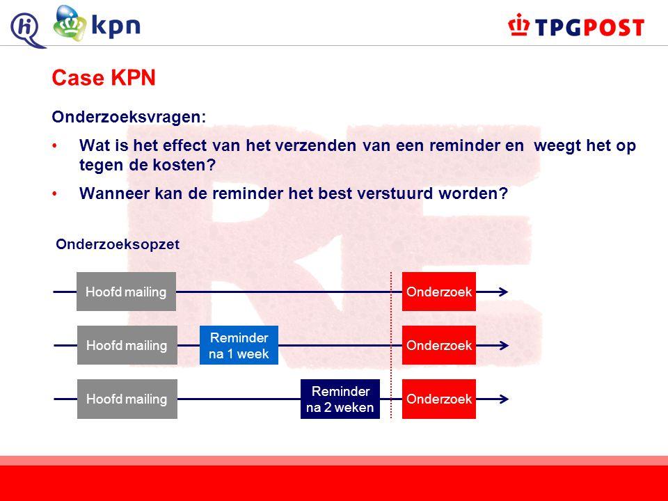 Case KPN Onderzoeksvragen: Wat is het effect van het verzenden van een reminder en weegt het op tegen de kosten? Wanneer kan de reminder het best vers
