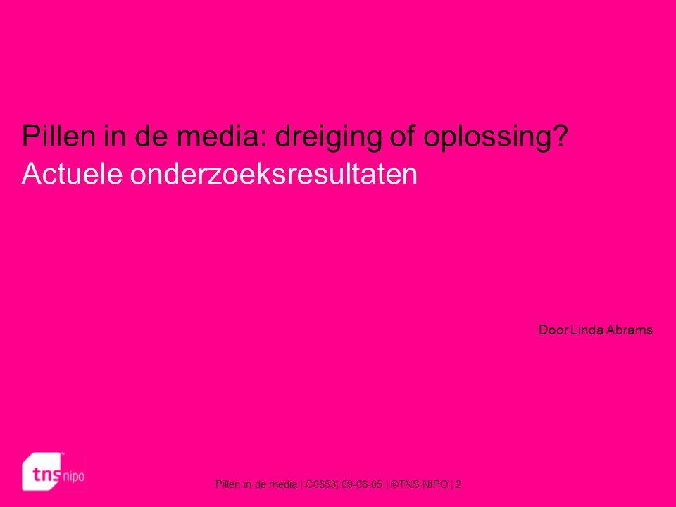 Pillen in de media   C0653  09-06-05   ©TNS NIPO   13 Resultaten 6% van de Nederlandse bevolking krijgt de informatie direct van de fabrikant.