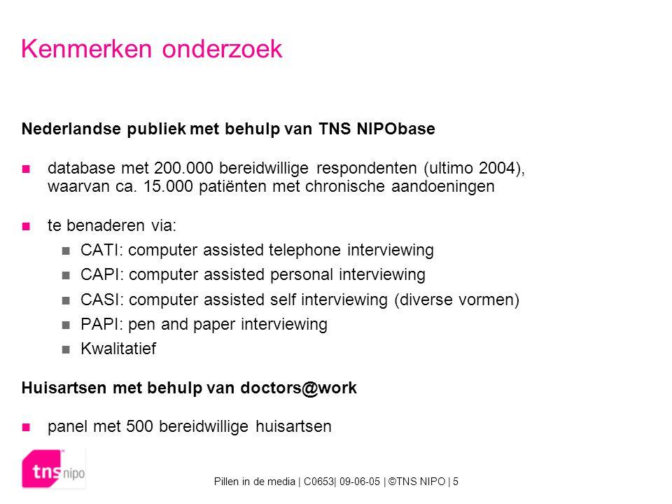 Pillen in de media | C0653| 09-06-05 | ©TNS NIPO | 5 Kenmerken onderzoek Nederlandse publiek met behulp van TNS NIPObase database met 200.000 bereidwillige respondenten (ultimo 2004), waarvan ca.