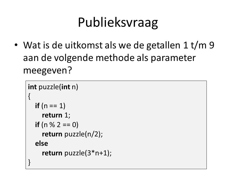 Publieksvraag Wat is de uitkomst als we de getallen 1 t/m 9 aan de volgende methode als parameter meegeven.