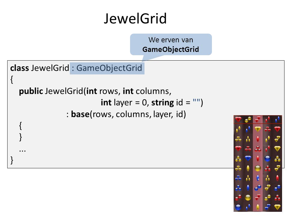 JewelGrid class JewelGrid : GameObjectGrid { public JewelGrid(int rows, int columns, int layer = 0, string id = ) : base(rows, columns, layer, id) { }...