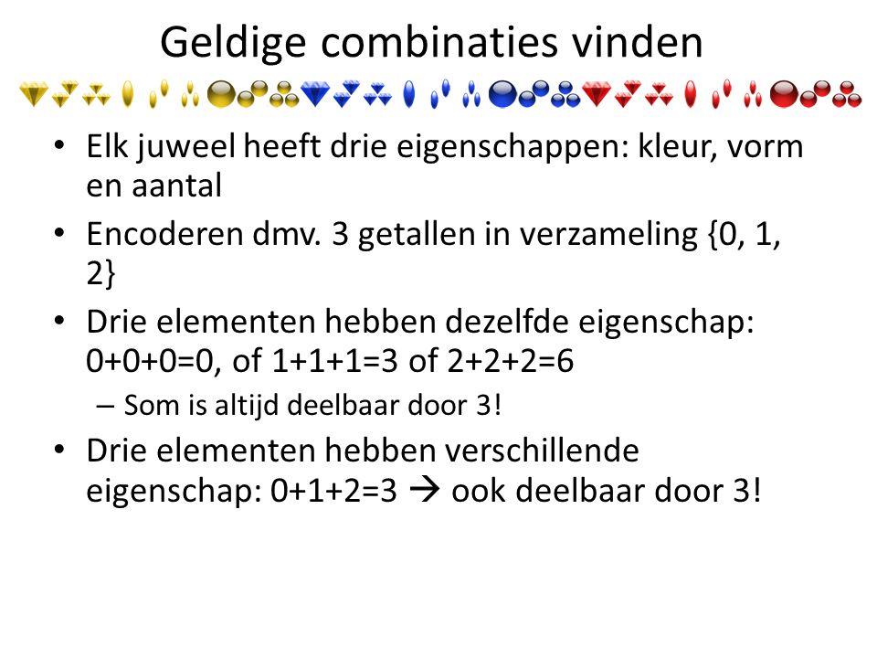 Geldige combinaties vinden Elk juweel heeft drie eigenschappen: kleur, vorm en aantal Encoderen dmv.