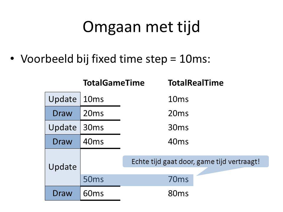 Omgaan met tijd Voorbeeld bij fixed time step = 10ms: Update Draw Update Draw Update Draw TotalGameTimeTotalRealTime10ms 20ms 30ms 40ms 50ms70ms 60ms80ms Echte tijd gaat door, game tijd vertraagt!