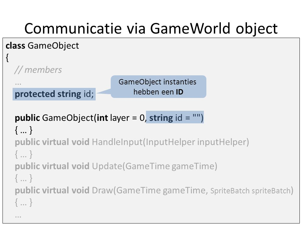 Communicatie via GameWorld object class GameObject { // members … protected string id; public GameObject(int layer = 0, string id = ) { … } public virtual void HandleInput(InputHelper inputHelper) { … } public virtual void Update(GameTime gameTime) { … } public virtual void Draw(GameTime gameTime, SpriteBatch spriteBatch ) { … } … GameObject instanties hebben een ID