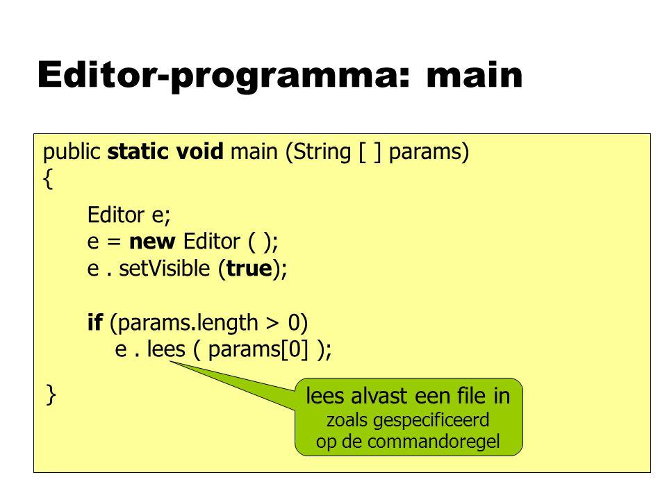 Editor-programma: main public static void main (String [ ] params) { Editor e; e = new Editor ( ); e. setVisible (true); if (params.length > 0) e. lee