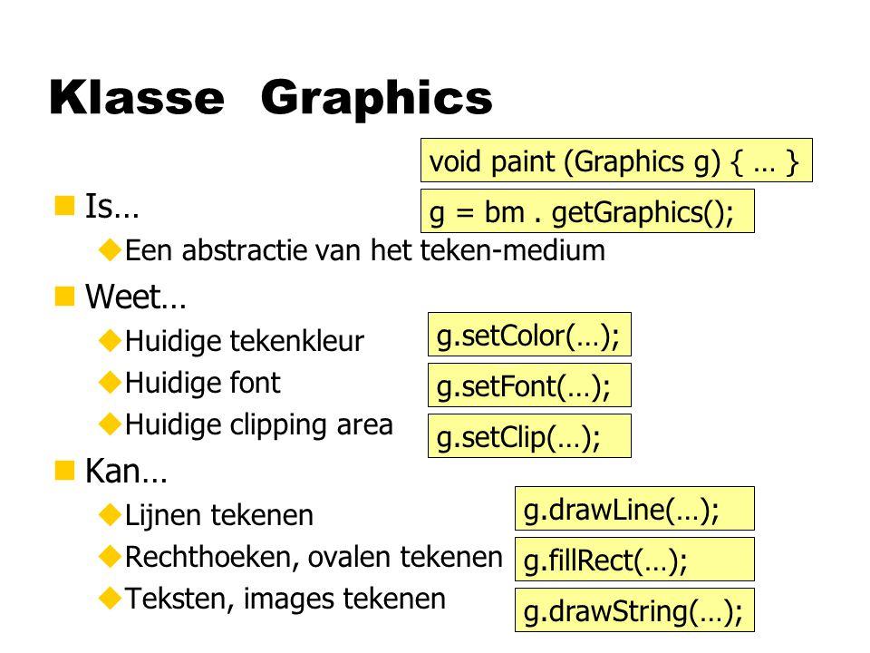 Klasse Graphics nIs… uEen abstractie van het teken-medium nWeet… uHuidige tekenkleur uHuidige font uHuidige clipping area nKan… uLijnen tekenen uRechthoeken, ovalen tekenen uTeksten, images tekenen g.setColor(…); g.setFont(…); g.setClip(…); g = bm.