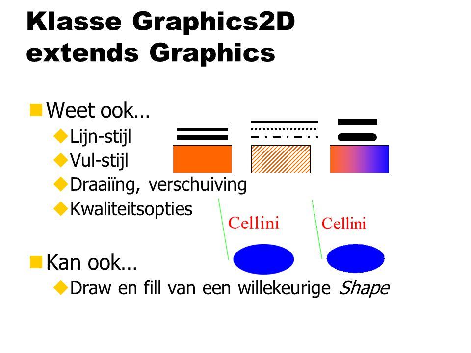 Klasse Graphics2D extends Graphics nWeet ook… uLijn-stijl uVul-stijl uDraaiïng, verschuiving uKwaliteitsopties nKan ook… uDraw en fill van een willekeurige Shape