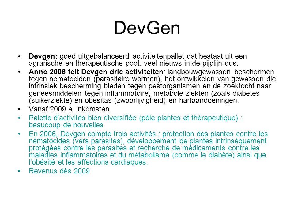DevGen Devgen: goed uitgebalanceerd activiteitenpallet dat bestaat uit een agrarische en therapeutische poot: veel nieuws in de pijplijn dus. Anno 200