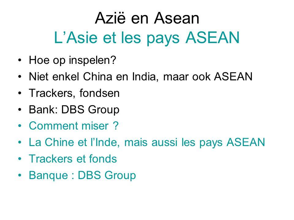 Azië en Asean L'Asie et les pays ASEAN Hoe op inspelen? Niet enkel China en India, maar ook ASEAN Trackers, fondsen Bank: DBS Group Comment miser ? La