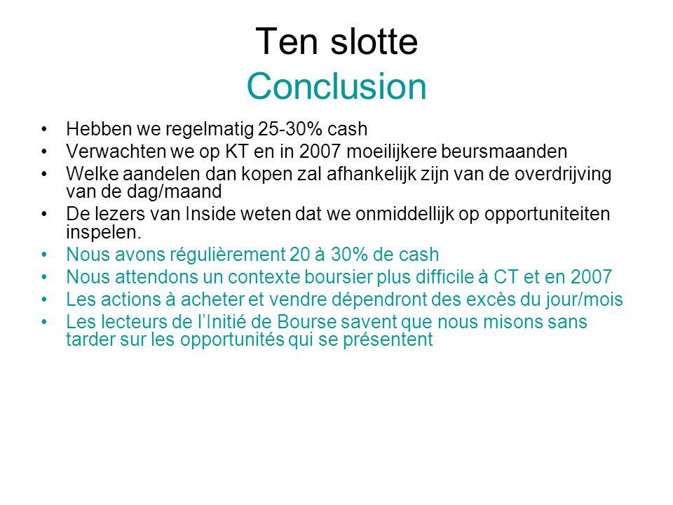 Ten slotte Conclusion Hebben we regelmatig 25-30% cash Verwachten we op KT en in 2007 moeilijkere beursmaanden Welke aandelen dan kopen zal afhankelij