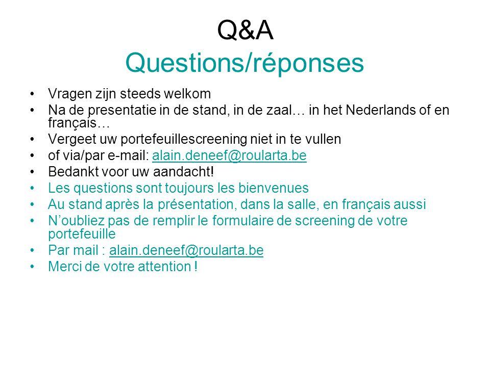 Q&A Questions/réponses Vragen zijn steeds welkom Na de presentatie in de stand, in de zaal… in het Nederlands of en français… Vergeet uw portefeuilles