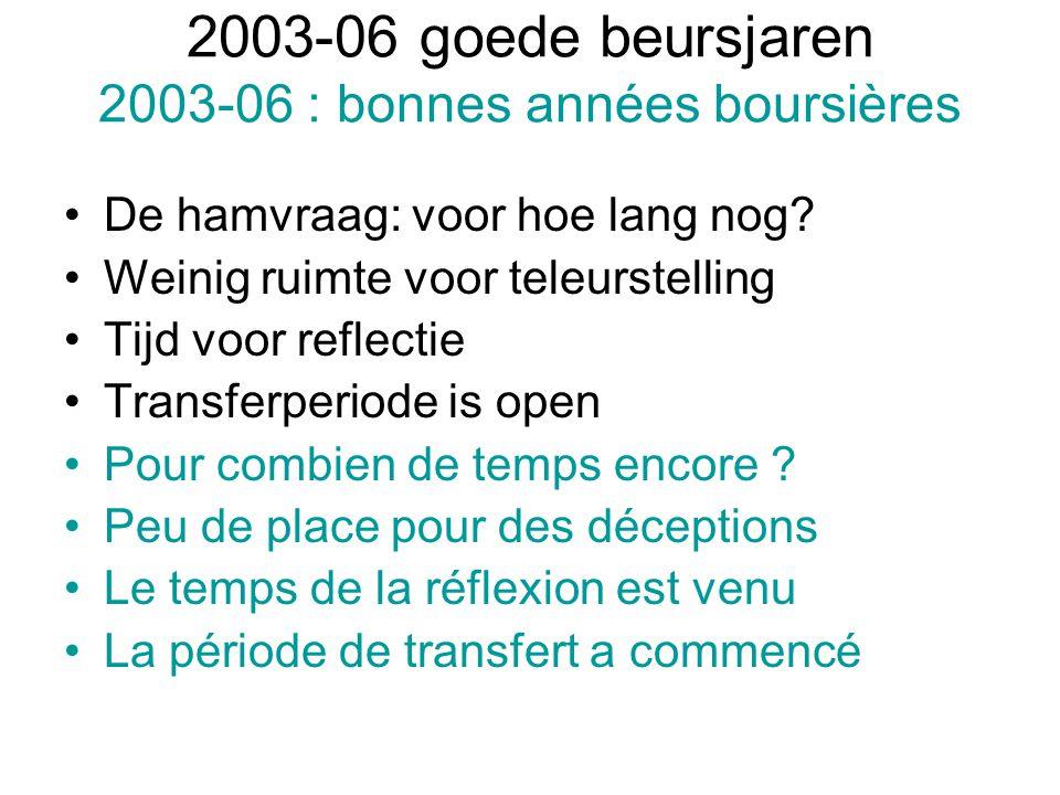 2003-06 goede beursjaren 2003-06 : bonnes années boursières De hamvraag: voor hoe lang nog? Weinig ruimte voor teleurstelling Tijd voor reflectie Tran