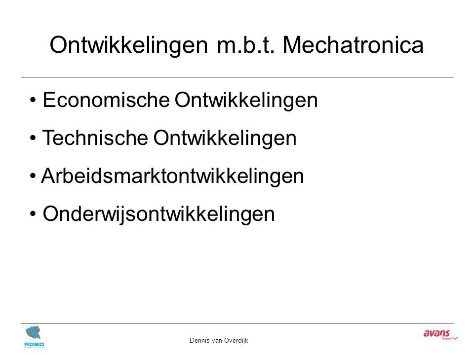 Ontwikkelingen m.b.t. Mechatronica Dennis van Overdijk Economische Ontwikkelingen Technische Ontwikkelingen Arbeidsmarktontwikkelingen Onderwijsontwik