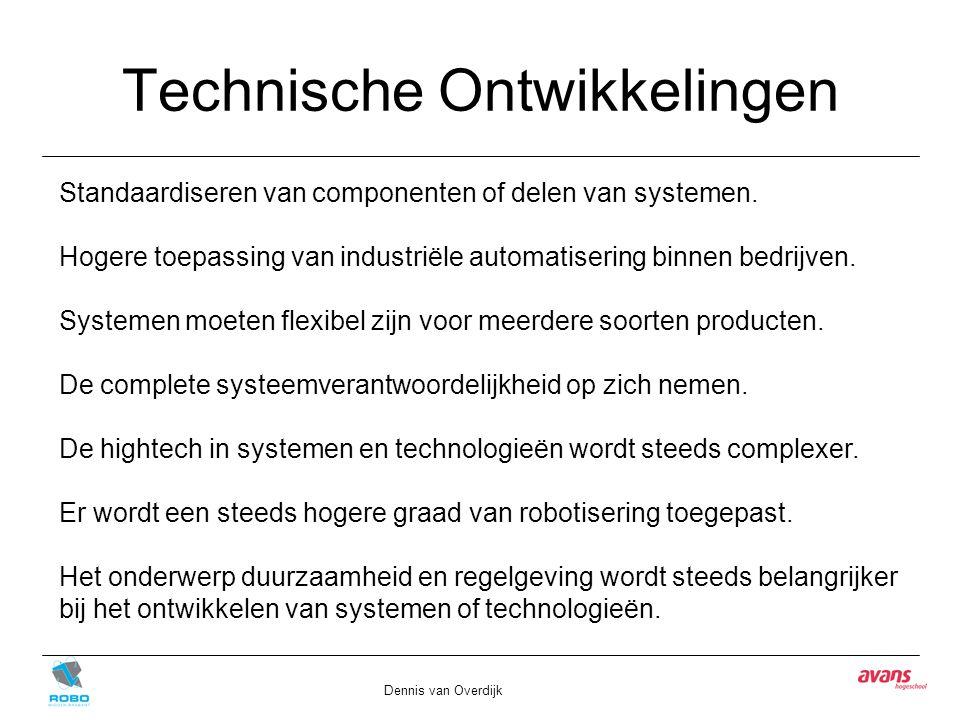 Technische Ontwikkelingen Dennis van Overdijk Standaardiseren van componenten of delen van systemen. Hogere toepassing van industriële automatisering