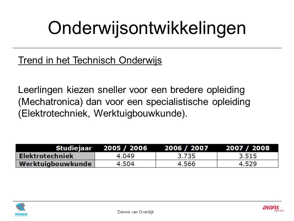 Onderwijsontwikkelingen Dennis van Overdijk Trend in het Technisch Onderwijs Leerlingen kiezen sneller voor een bredere opleiding (Mechatronica) dan voor een specialistische opleiding (Elektrotechniek, Werktuigbouwkunde).