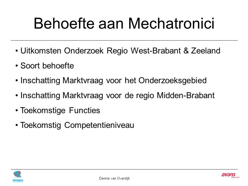 Behoefte aan Mechatronici Dennis van Overdijk Uitkomsten Onderzoek Regio West-Brabant & Zeeland Soort behoefte Inschatting Marktvraag voor het Onderzo