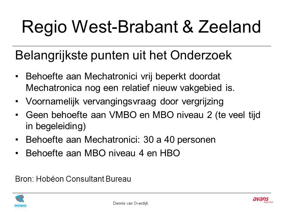 Regio West-Brabant & Zeeland Belangrijkste punten uit het Onderzoek Behoefte aan Mechatronici vrij beperkt doordat Mechatronica nog een relatief nieuw