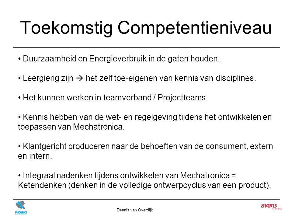 Toekomstig Competentieniveau Dennis van Overdijk Duurzaamheid en Energieverbruik in de gaten houden. Leergierig zijn  het zelf toe-eigenen van kennis