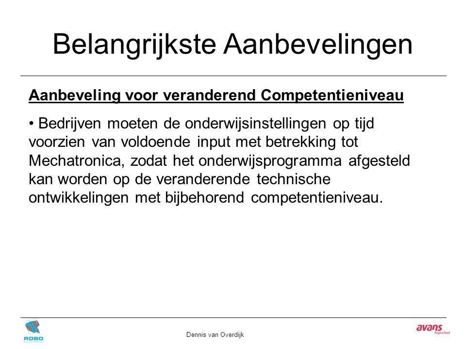 Belangrijkste Aanbevelingen Dennis van Overdijk Aanbeveling voor veranderend Competentieniveau Bedrijven moeten de onderwijsinstellingen op tijd voorzien van voldoende input met betrekking tot Mechatronica, zodat het onderwijsprogramma afgesteld kan worden op de veranderende technische ontwikkelingen met bijbehorend competentieniveau.