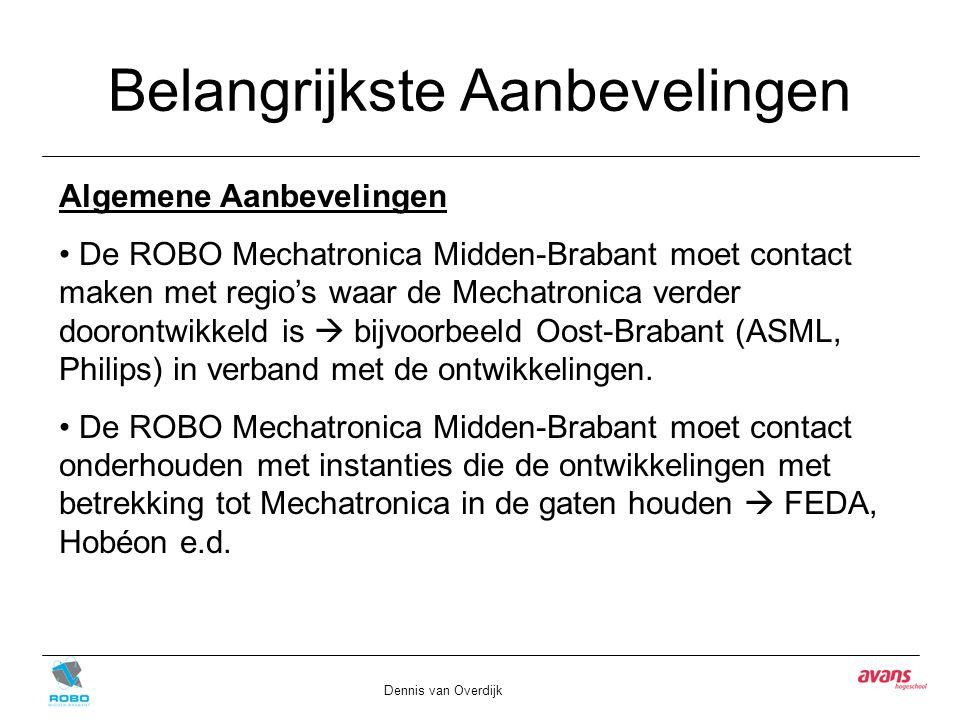 Belangrijkste Aanbevelingen Dennis van Overdijk Algemene Aanbevelingen De ROBO Mechatronica Midden-Brabant moet contact maken met regio's waar de Mech