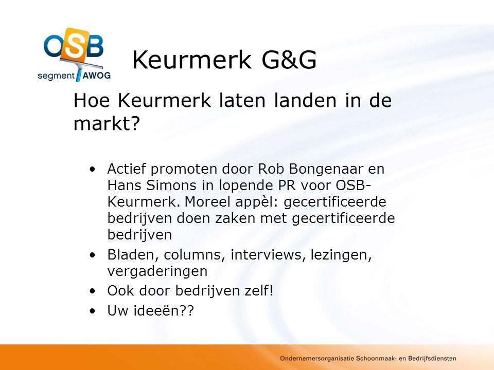 Hoe Keurmerk laten landen in de markt? Actief promoten door Rob Bongenaar en Hans Simons in lopende PR voor OSB- Keurmerk. Moreel appèl: gecertificeer