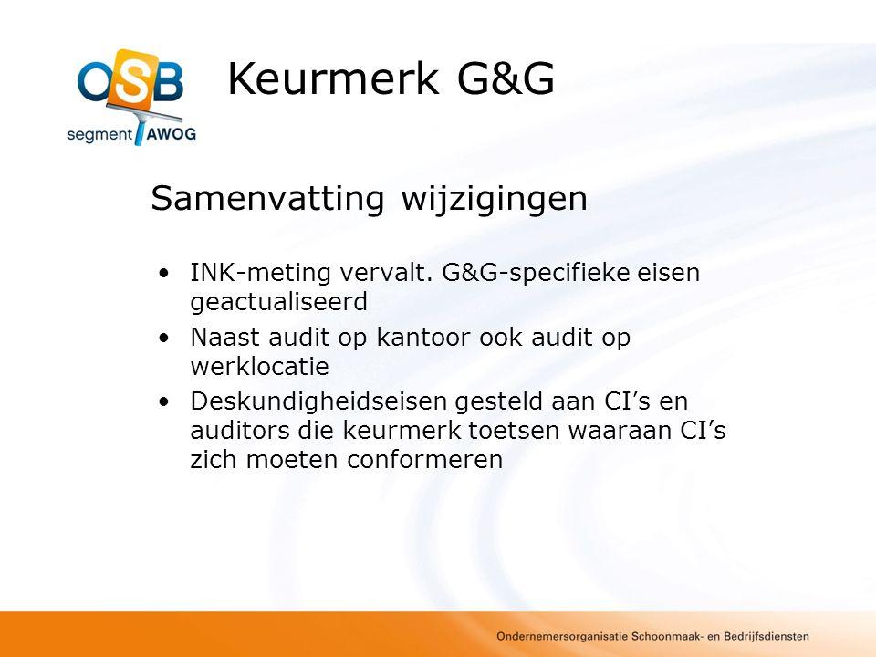 Samenvatting wijzigingen INK-meting vervalt. G&G-specifieke eisen geactualiseerd Naast audit op kantoor ook audit op werklocatie Deskundigheidseisen g
