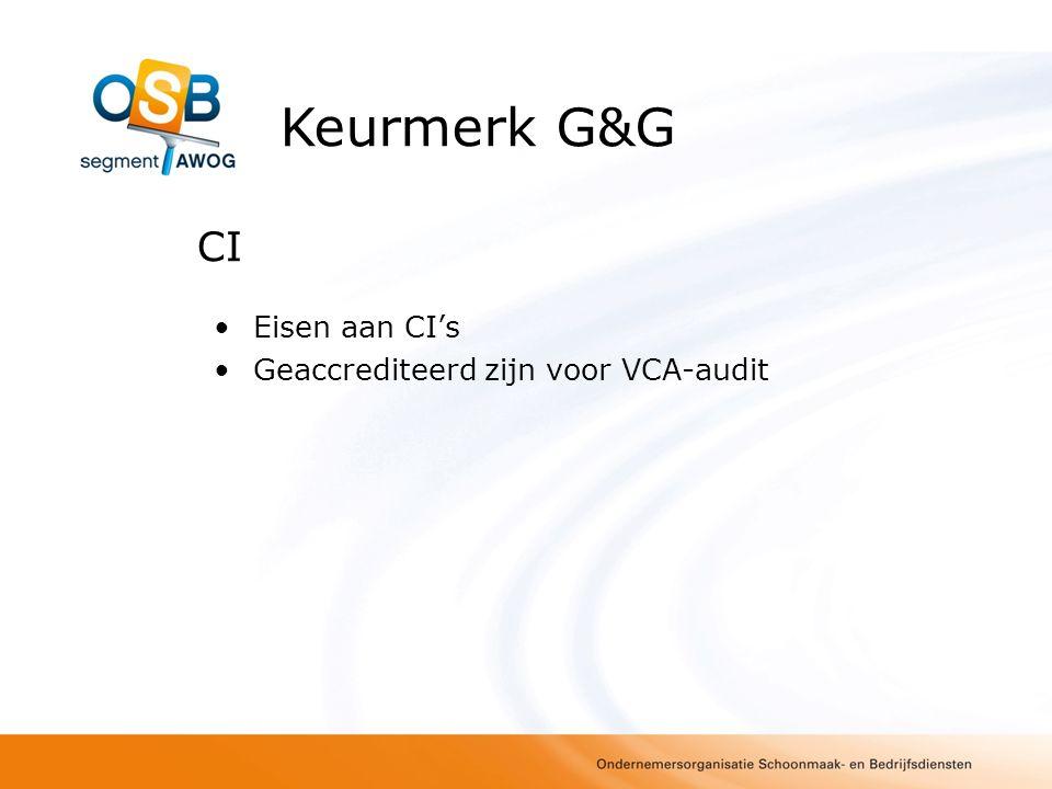 Eisen aan inspecteur/auditor Minimaal zelfde kwalificaties als VCA- auditor Kennis relevante wet– en regelgeving: VWOH, arbeidshygiënische strategie, werkmethoden Deelnemen jaarlijkse training bij OSB (ontwikkelingen en harmonisatie) Keurmerk G&G