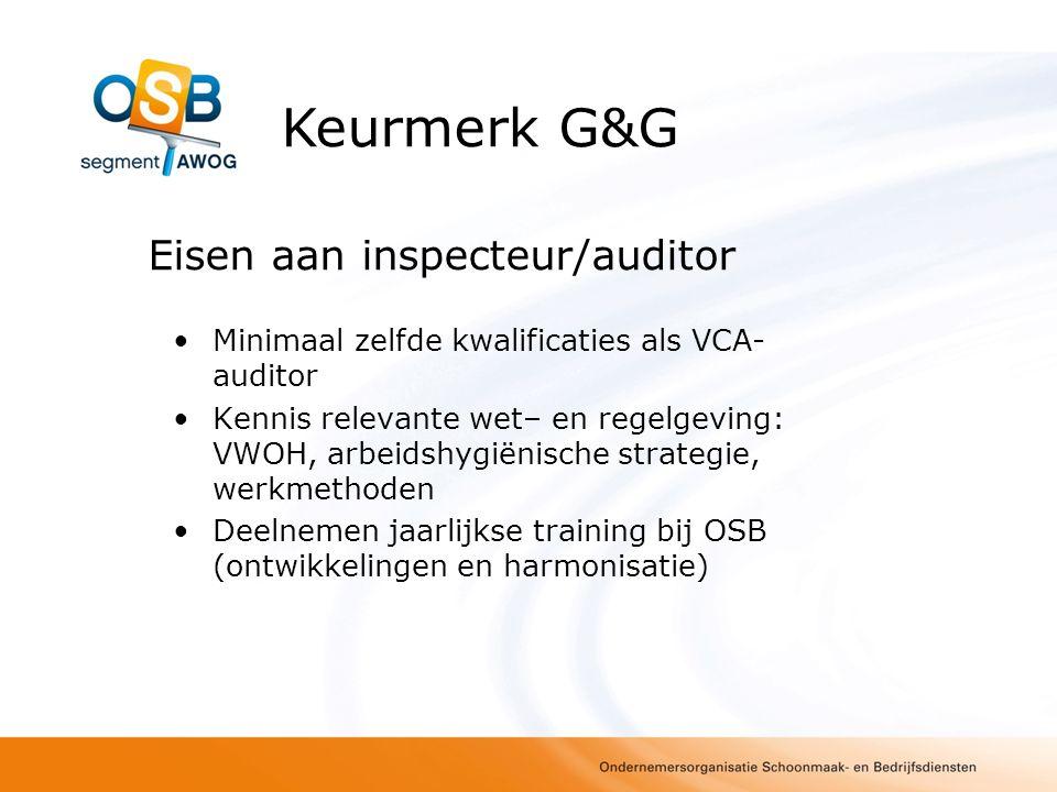 Eisen aan inspecteur/auditor Minimaal zelfde kwalificaties als VCA- auditor Kennis relevante wet– en regelgeving: VWOH, arbeidshygiënische strategie,