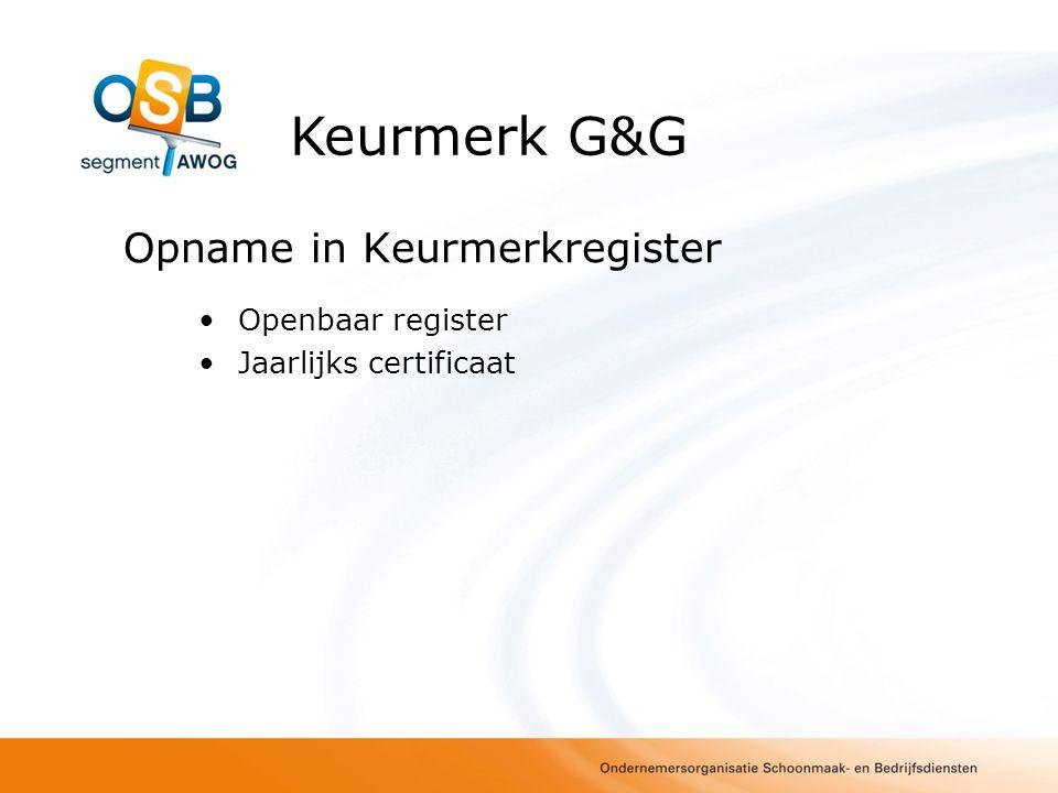 Procedure invoering Vandaag: Presentatie wijzigingen April: inrichting Register OSB-Keurmerk G&G April/Mei: Nadere afspraken CI's wijze van inspectie Juni e.v.: nieuwe bedrijven kunnen zich volgens nieuwe eisen laten toetsen Keurmerk G&G