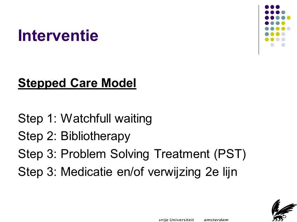 Watchful Waiting (1) Patienten met angst- en stemmingsstoornissen herstellen spontaan (Spijker (2002); Lamberts (1994); van Weel-Baumgarten (2001) Monitor na 4 weken