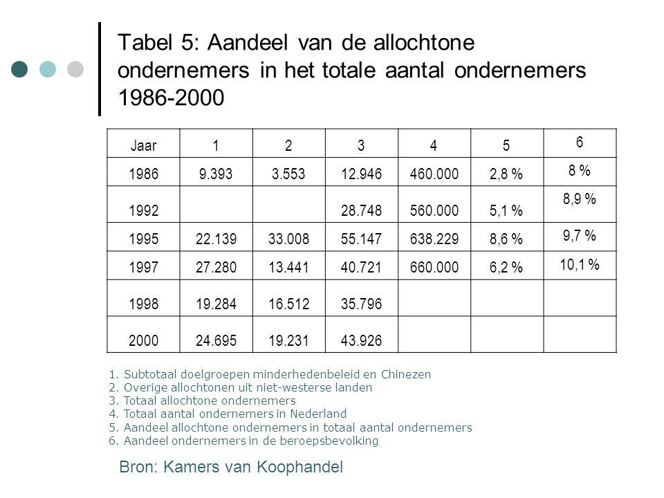 Tabel 5: Aandeel van de allochtone ondernemers in het totale aantal ondernemers 1986-2000 Jaar12345 6 19869.3933.55312.946460.0002,8 % 8 % 199228.7485