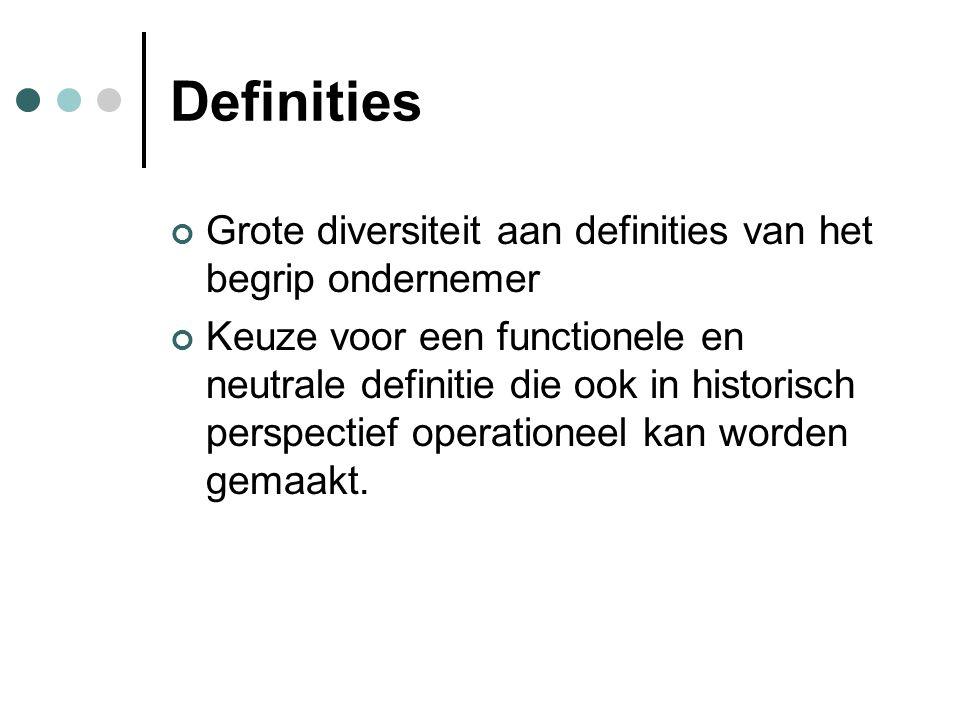 Definities Grote diversiteit aan definities van het begrip ondernemer Keuze voor een functionele en neutrale definitie die ook in historisch perspectief operationeel kan worden gemaakt.