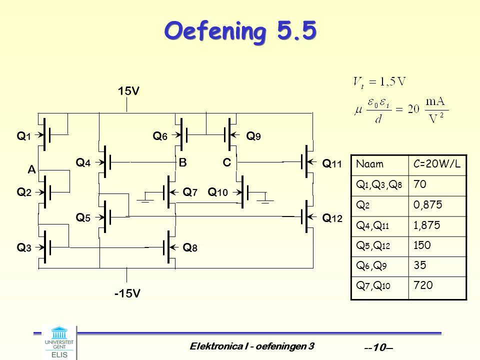 Elektronica I - oefeningen 3 --10-- Oefening 5.5 15V Q 12 Q 11 Q1Q1 Q2Q2 Q3Q3 A BQ4Q4 Q5Q5 -15V Q6Q6 Q7Q7 Q8Q8 Q9Q9 Q 10 C NaamC=20W/L Q 1,Q 3,Q 8 70