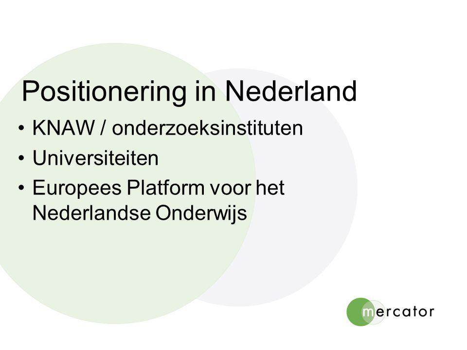 Positionering in Nederland KNAW / onderzoeksinstituten Universiteiten Europees Platform voor het Nederlandse Onderwijs