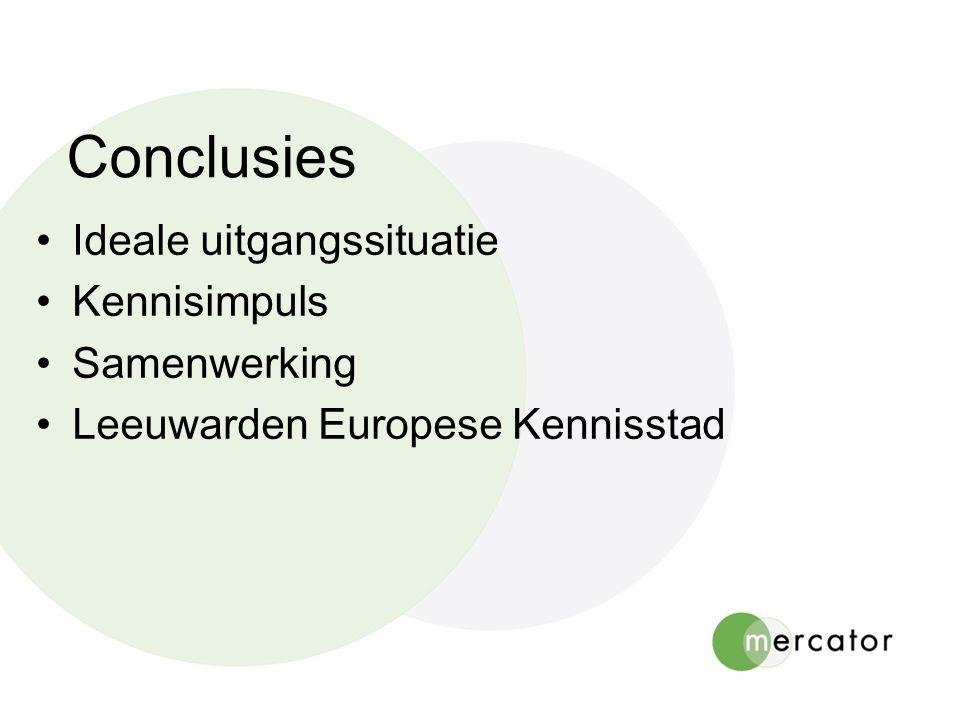 Conclusies Ideale uitgangssituatie Kennisimpuls Samenwerking Leeuwarden Europese Kennisstad