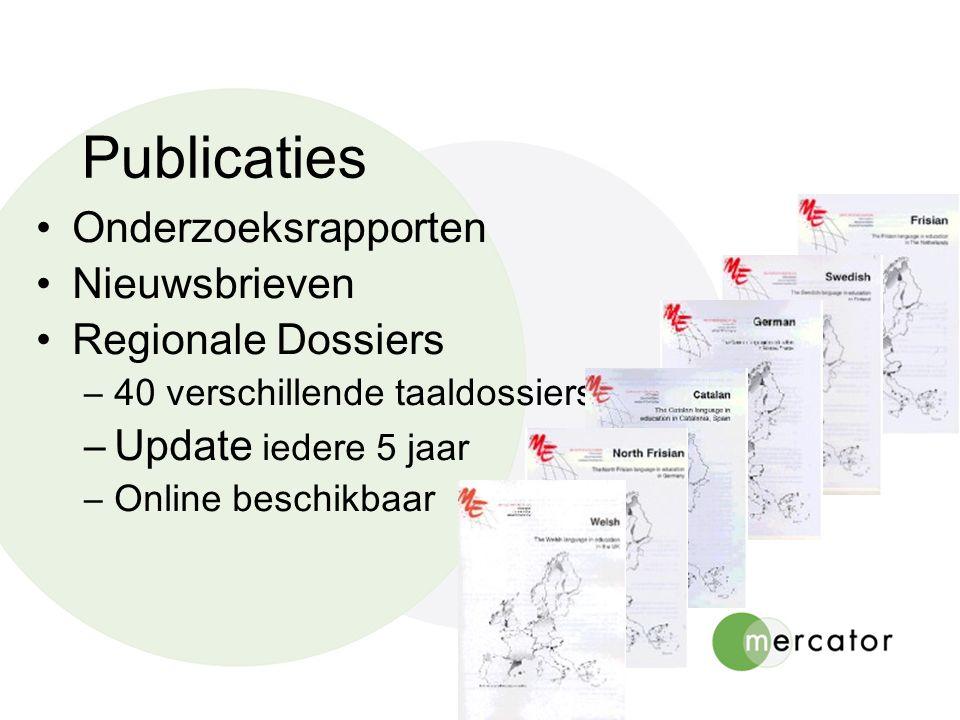 Onderzoeksrapporten Nieuwsbrieven Regionale Dossiers –40 verschillende taaldossiers –Update iedere 5 jaar –Online beschikbaar Publicaties