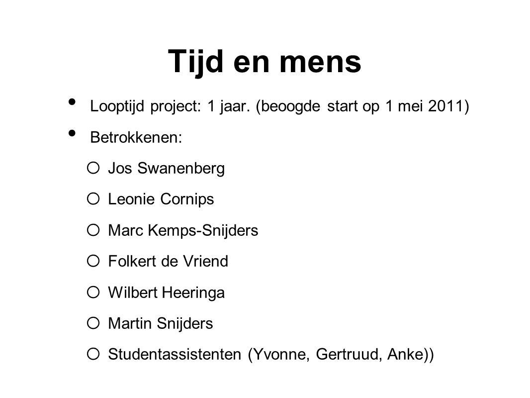 Tijd en mens Looptijd project: 1 jaar. (beoogde start op 1 mei 2011) Betrokkenen: o Jos Swanenberg o Leonie Cornips o Marc Kemps-Snijders o Folkert de