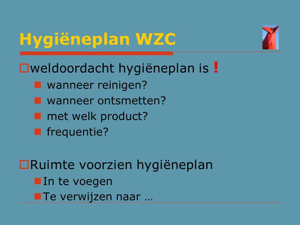 Hygiëneplan WZC  weldoordacht hygiëneplan is ! wanneer reinigen? wanneer ontsmetten? met welk product? frequentie?  Ruimte voorzien hygiëneplan In t