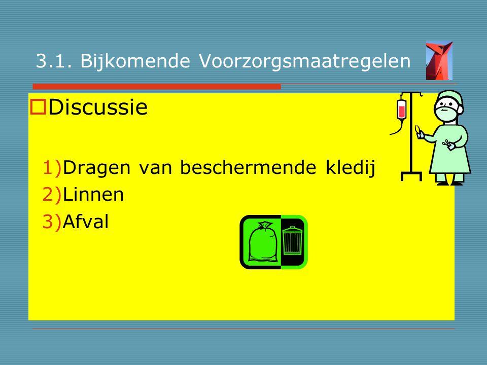 3.1. Bijkomende Voorzorgsmaatregelen  Discussie 1)Dragen van beschermende kledij 2)Linnen 3)Afval