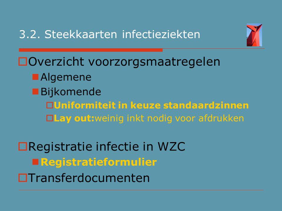 3.2. Steekkaarten infectieziekten  Overzicht voorzorgsmaatregelen Algemene Bijkomende  Uniformiteit in keuze standaardzinnen  Lay out:weinig inkt n