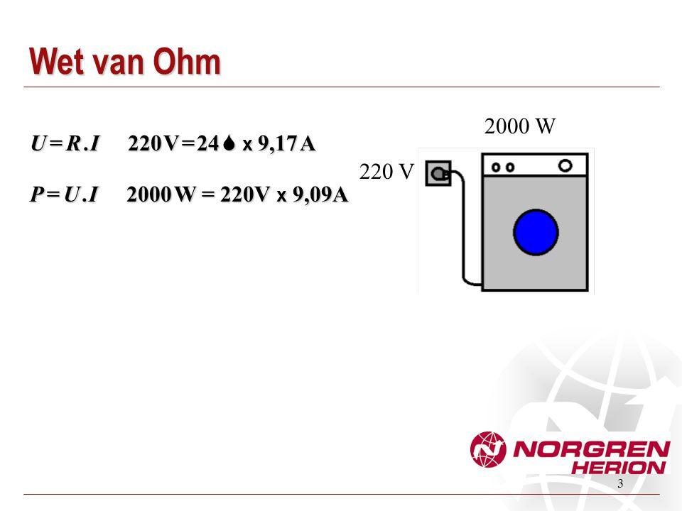 3 Wet van Ohm 2000 W 220 V P = U. I 2000 W = 220V x 9,09A U = R. I 220 V = 24  x 9,17 A