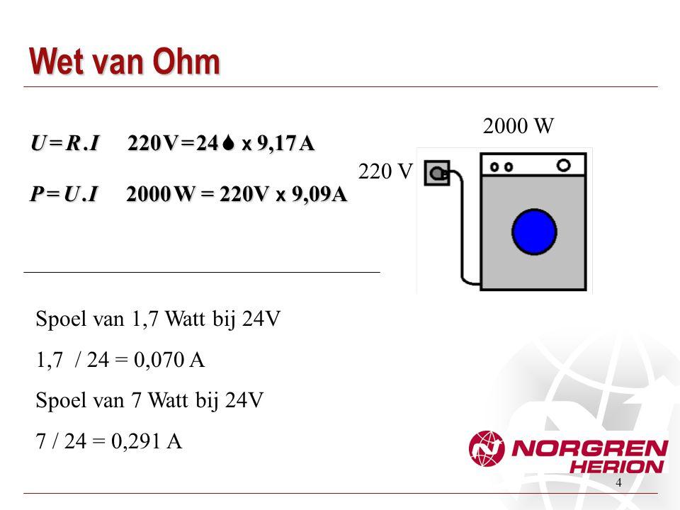 4 2000 W 220 V Spoel van 1,7 Watt bij 24V 1,7 / 24 = 0,070 A Spoel van 7 Watt bij 24V 7 / 24 = 0,291 A Wet van Ohm P = U. I 2000 W = 220V x 9,09A U =