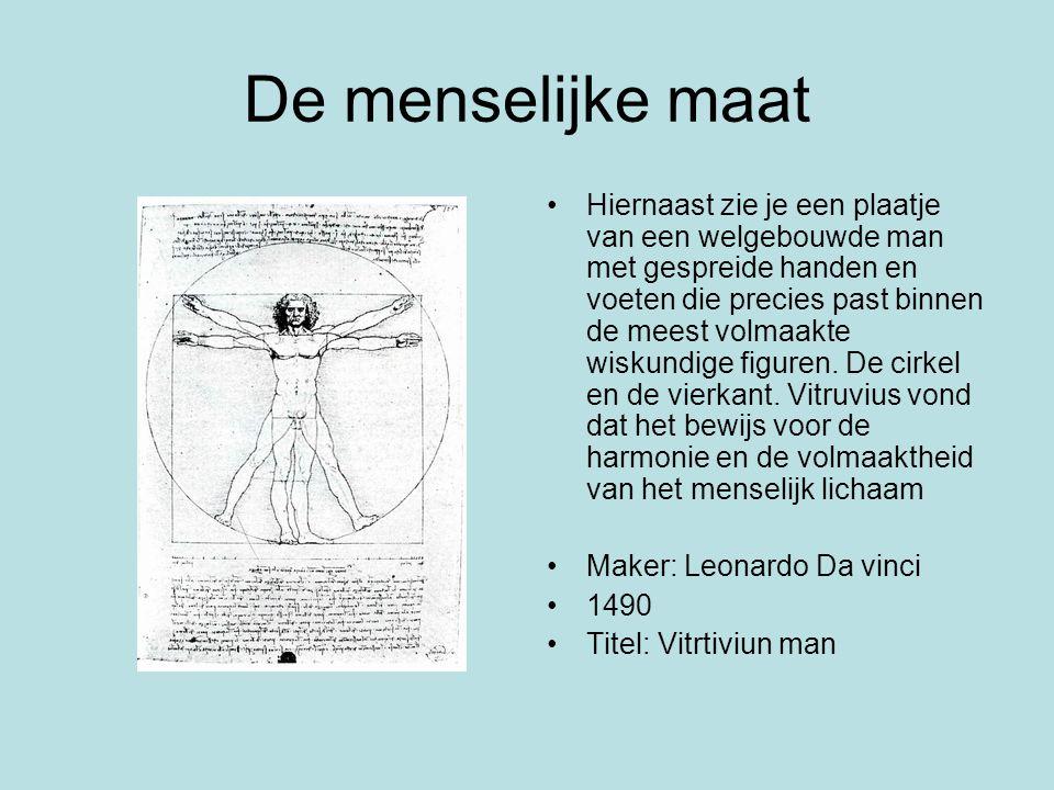 De menselijke maat Hiernaast zie je een plaatje van een welgebouwde man met gespreide handen en voeten die precies past binnen de meest volmaakte wisk