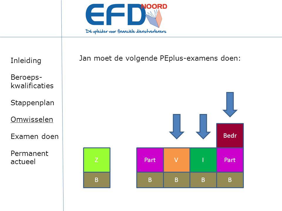 BBBB ZPartV Bedr Jan moet de volgende PEplus-examens doen: B I Inleiding Beroeps- kwalificaties Stappenplan Omwisselen Examen doen Permanent actueel