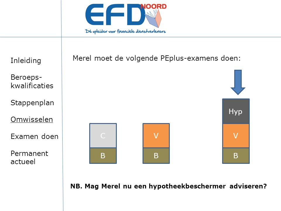 Merel moet de volgende PEplus-examens doen: BB VV Hyp NB. Mag Merel nu een hypotheekbeschermer adviseren? B C Inleiding Beroeps- kwalificaties Stappen
