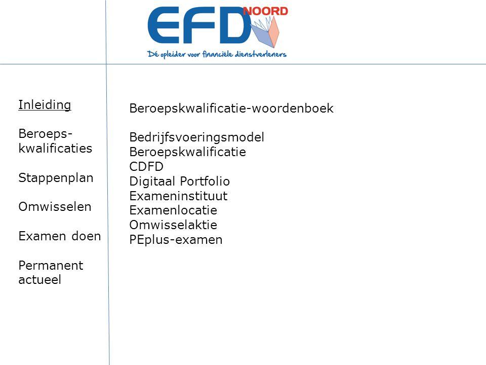 Beroepskwalificatie-woordenboek Bedrijfsvoeringsmodel Beroepskwalificatie CDFD Digitaal Portfolio Exameninstituut Examenlocatie Omwisselaktie PEplus-e