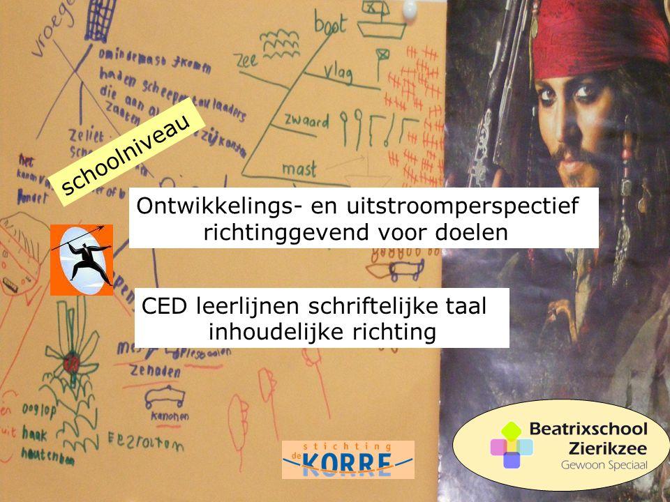 Ontwikkelings- en uitstroomperspectief richtinggevend voor doelen CED leerlijnen schriftelijke taal inhoudelijke richting schoolniveau