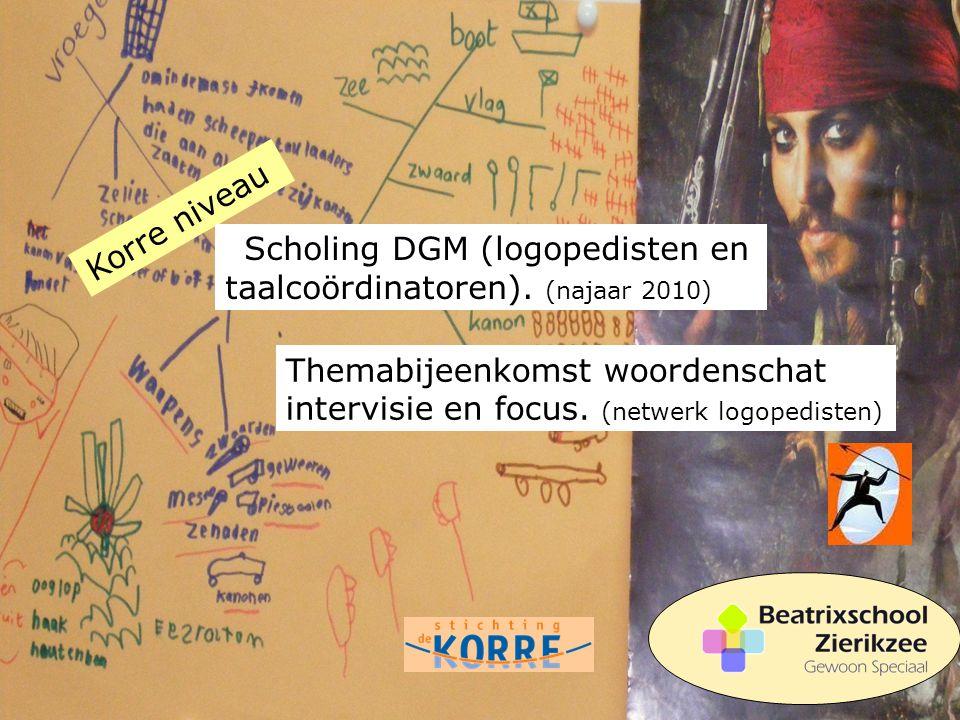 Korre niveau Scholing DGM (logopedisten en taalcoördinatoren). (najaar 2010) Themabijeenkomst woordenschat intervisie en focus. (netwerk logopedisten)